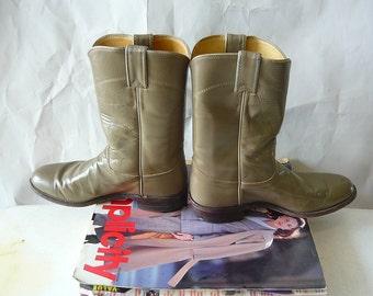 JUSTIN Roper Boots Leather Womens Size 9 Eur 40 UK 6 .5 / Cowboy Grunge  Ankle Olive Green /  Mens sz 7.5 D