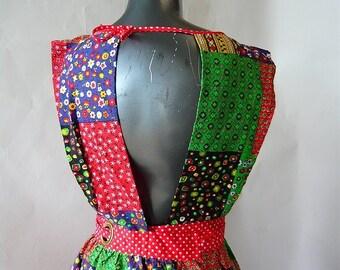 Vintage 60s Patchwork Apron Dress / 70s Pop Flower Power Maxi /  Floor Length COLD Back Wrap Skirt / made in Japan / Size range 4 6 8