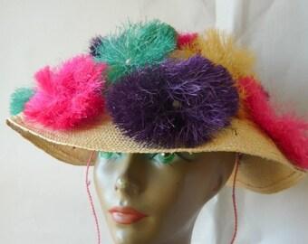 Vintage 50s STRAW Hat with Colorful  Pom Poms / Wide Brim Sun Bonnet Shade / 60s BEACH PARTY Resort Ladies / Pink Aqua Purple