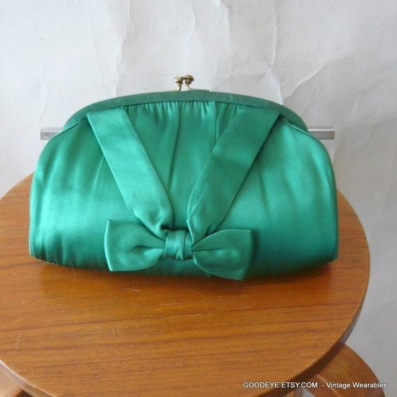 Moscowitz Evening Bag Green Silk Vintage 50s 60s Clutch