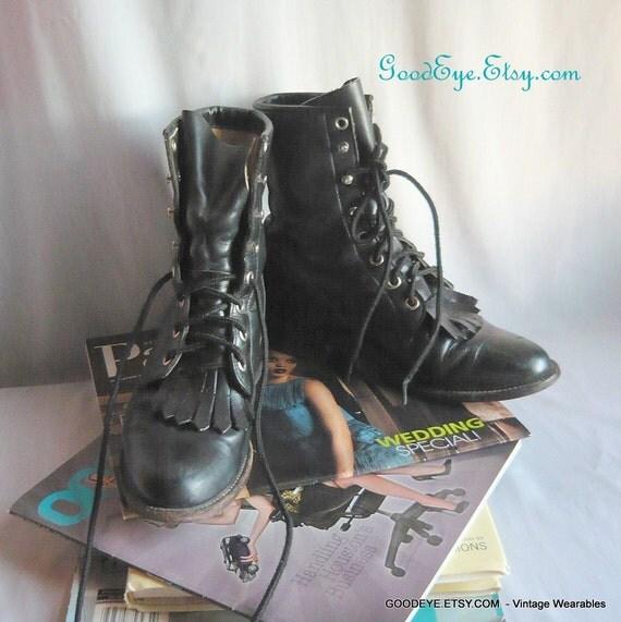Vintage JUSTIN Oxford Ankle Boots sz 6 .5 Eu 37 LEATHER Black Combat Granny