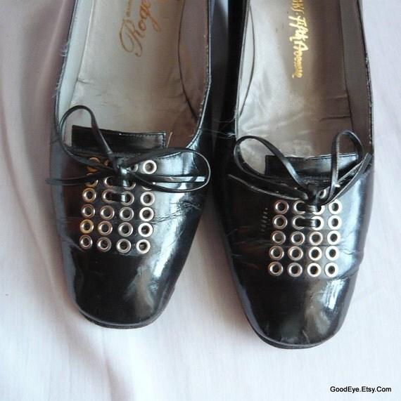 60s Mod ROGER VIVIER Pumps 8 .5 A Eur 39 UK 6 Italy Pan Am Shoes Leather Pop Black
