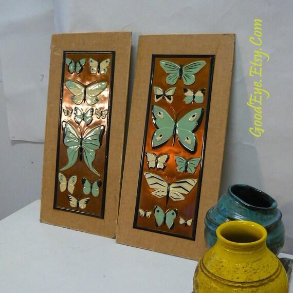 MCM Copper Enamel Wall Plates Pair Butterflies Pictures IRWIN Atomic Mod 50s Decor