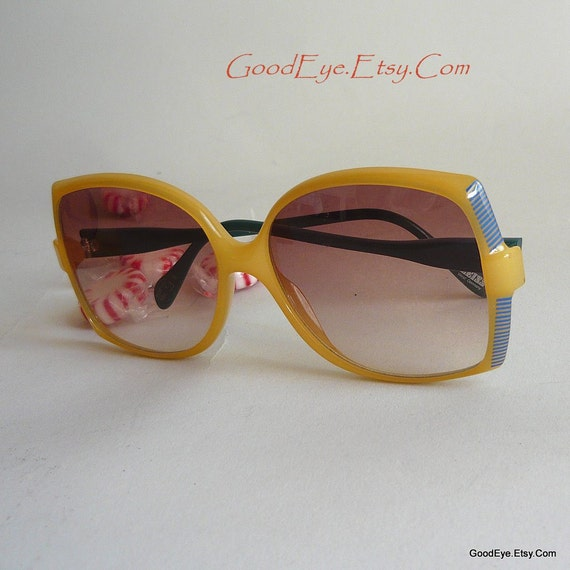 ZEISS Sun Glasses Oversized Shades Eyeglasses Oval Germany YELLOW Frames