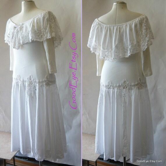 Romantic Off Shoulder Dress 6 8 10  Dropwaist White 1980s