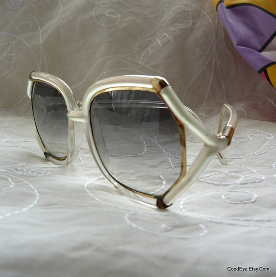 Ted Lapidus Oversized Sun Glasses Shades 1980s BAMBOO Frosty White
