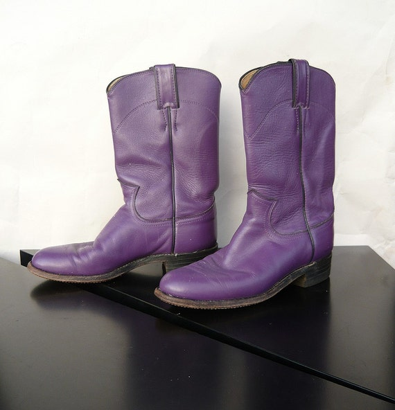 vintage flat boots purple justin ropers 80s size 5