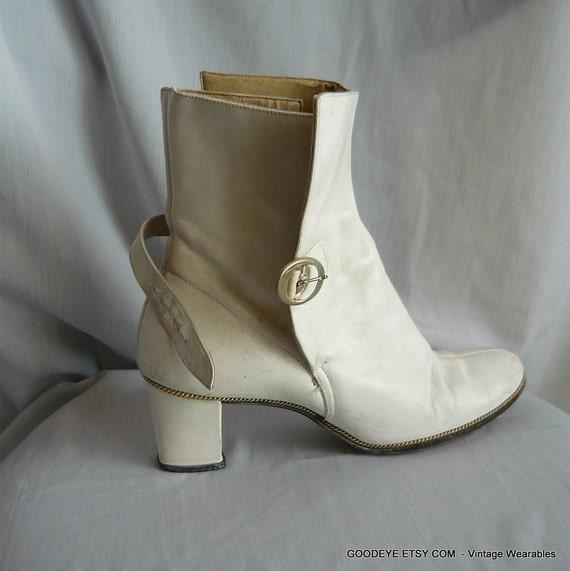 Vintage 70s White Leather Ankle Boots Gogo Eu 35 Uk4 5 Us 6
