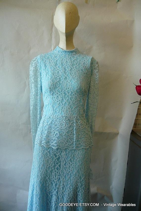 Vintage Lace Prairie Dress 6 8 10 small HIPPIE WEDDING Maxi Pastel Blue 1970s
