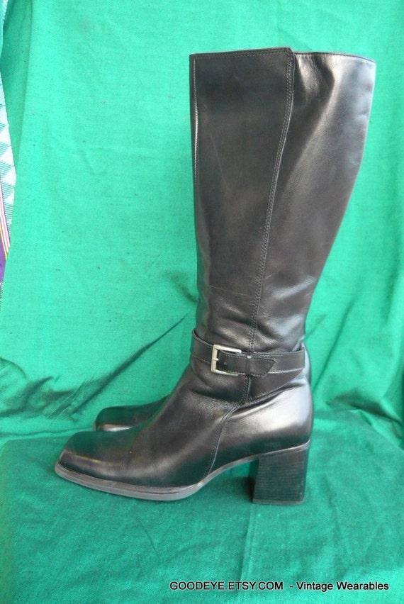 Vintage Biker Knee Boots Leather Horsebit Harness  size 8 narrow 80s CARESSA