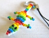 Reserved: Beaded Crocodile Keychain - Rainbow