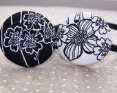 Black and White Robert Kaufman Floral Button Ponytail Holders