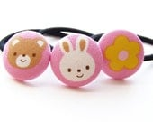 Beary Bunny Friends Fabric Covered button Ponytail Elastics set of 3