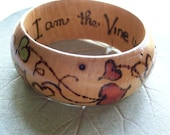RESERVED for SarahsVine - VINES and BRANCHES woodburned Bangle
