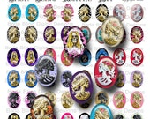 18mm x 25mm cabachons...Lolita skulls and skeletons, left and right facing images... INSTANT DOWNLOAD at Checkout
