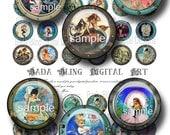 Porthole Mermaids Bottle Cap images  digital collage sheets  INSTANT Digital Download at Checkout