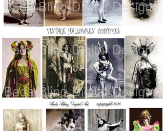 Ye Olde Halloween Costumes,   vintage french photos, digital collage sheets INSTANT  Digital Download at Checkout