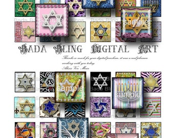 inchies. Star Of David...digital collage sheets for pendants. INSTANT Digital Download at Checkout, Hebrew, Judaic, Jewish jewelry