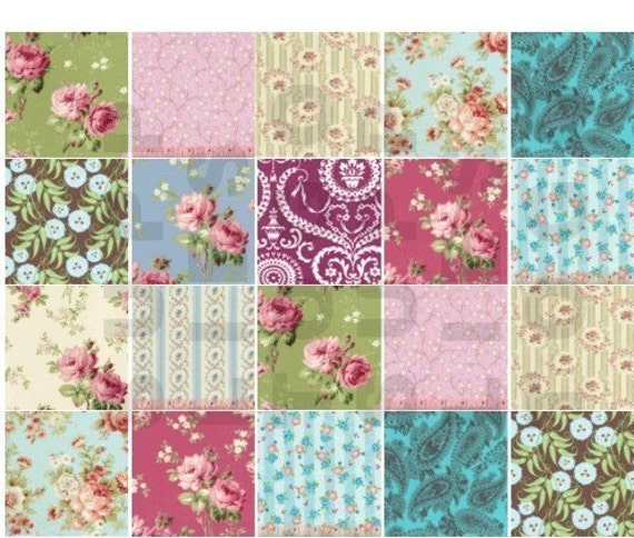 shabby chic fabric squares collage sheet free shipping usa
