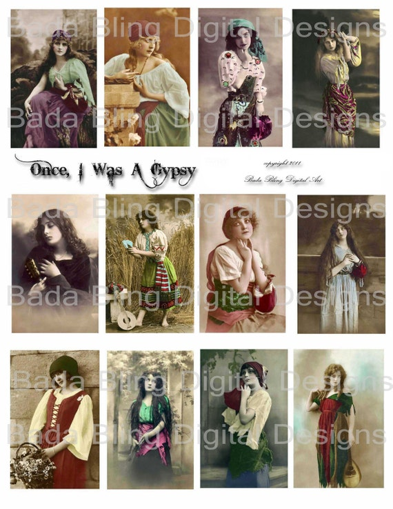 Once I Was A Gypsy,   vintage french photos, digital collage sheets..INSTANT  Digital Download at Checkout