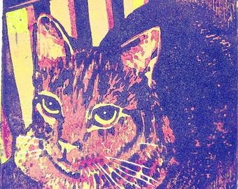 Cat Loaf (woodcut)