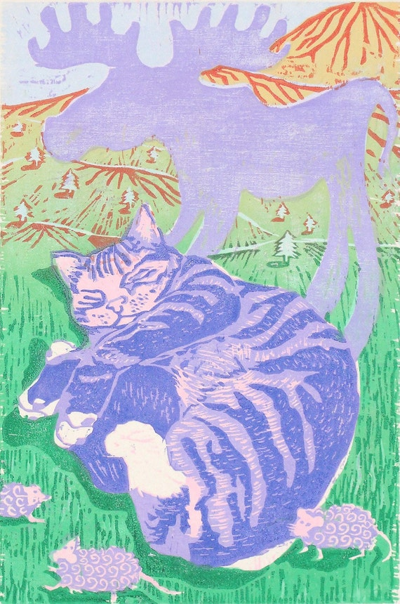 Giant Moose of a Cat... (woodcut)