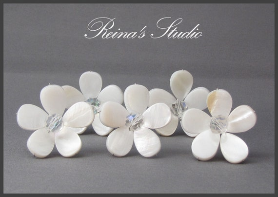 Mother of Pearl and Clear AB Czech crystals.... Set of Six Beautiful Hair Pins