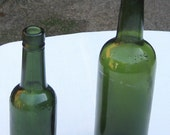 LOT of 2 Antique, Deep Olive Green  (Black Glass) Colored Bitters Bottles (Set25)