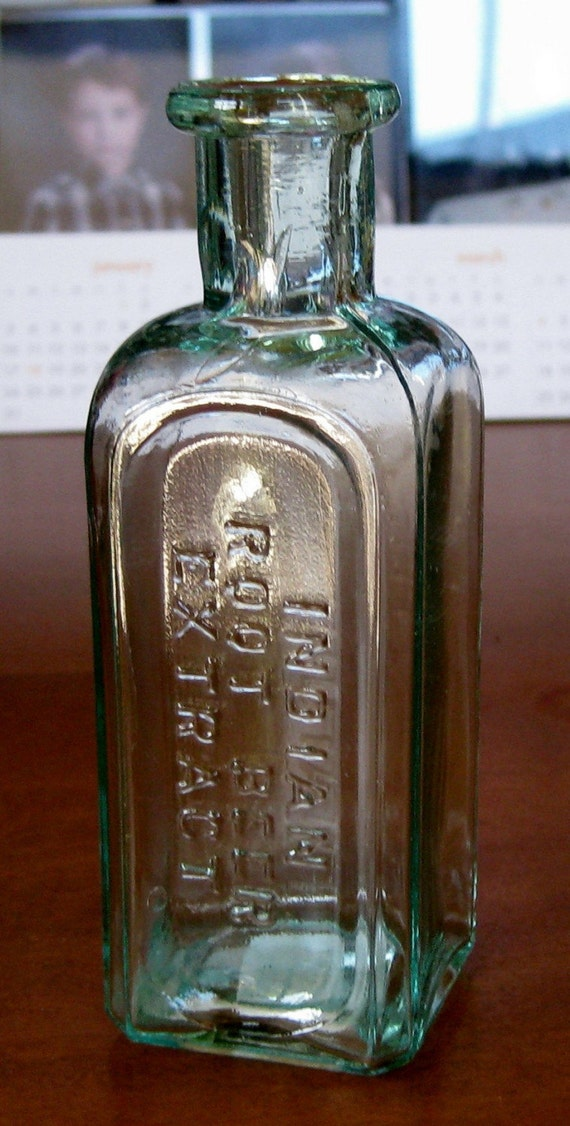 Antique Aqua Colored Indian Root Beer Extract Bottle