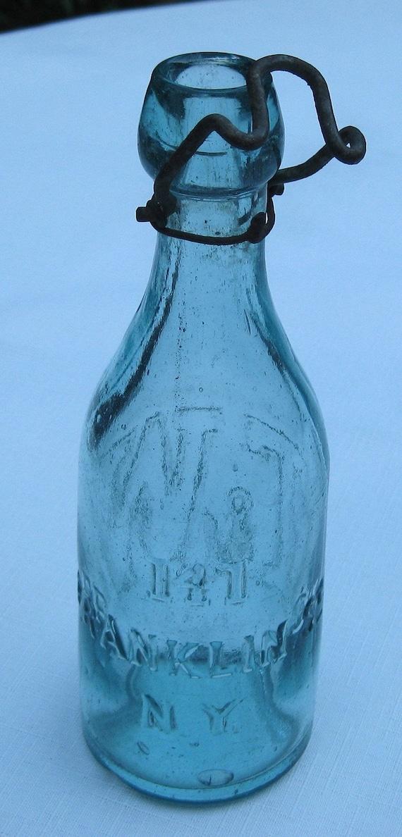 Antique Aqua Colored Blob Top Soda Bottle By Bottlesbytasha