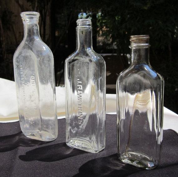 LOT of 3 Antique, Clear Colored Medicine Bottles (Set78)