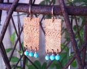 Turquoise and Copper Batik Earrings OOAK
