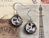 Vintage Typewriter Key Earrings Minnie and Mickey Mouse