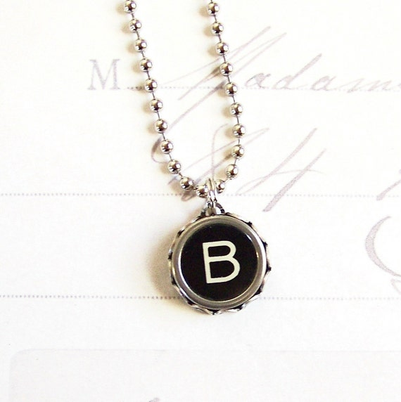 Vintage Typewriter Key Necklace Letter B