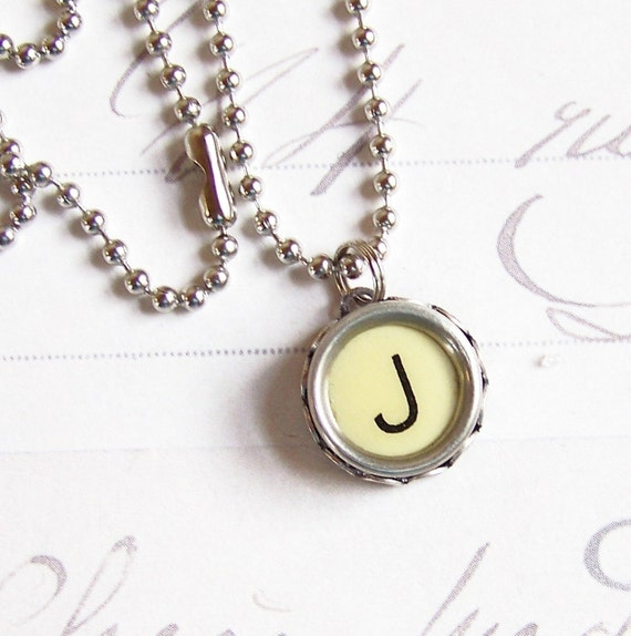 Vintage Typewriter Key Necklace Letter J