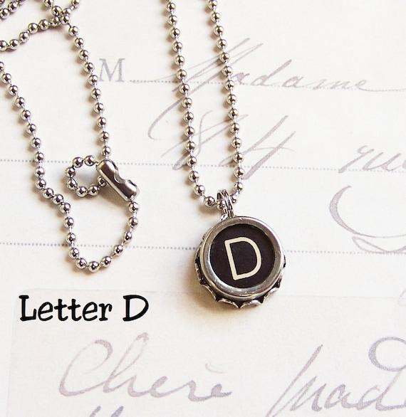 Vintage Typewriter Key Necklace Letter D