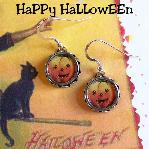 Vintage Typewriter Key Earrings Halloween Pumpkins