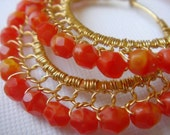 Firey Opal Red Orange and Gold Wire Lace Hoop Earrings