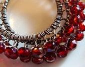 Midnight  Ruby Oxidized Sterling Silver Wire Lace Hoop Earrings