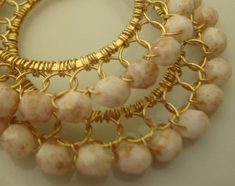 Opaque White with Rosy Gold Marbles Pattern Coiled Gold Wire Lace Hoop Earrings