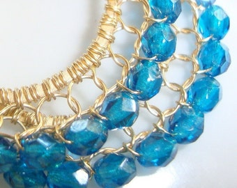 Luster Teal Blue and Gold Wire Lace Hoop Earrings