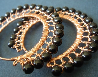 Black and Copper Wire Lace Hoop Earrings