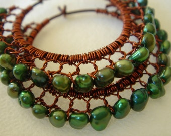 Forest Green Freshwater Pearls and Burnt Brown Wire Wrapped Lace Hoop Earrings
