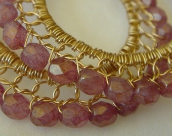 Stone Pink and Gold Wire lace Hoop Earrings