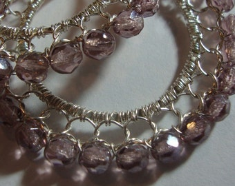 Transparent Amethyst Luster and Sterling Silver  Wire Lace Hoop Earrings  Hand Woven Wire Lace Hoop Earrings