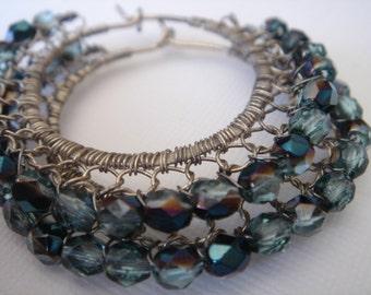 Midnight Sapphire Oxidized Sterling Silver Wire Lace Hoop Earrings