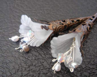 Blooming Frosty White Trumpet Lilies  Earrings