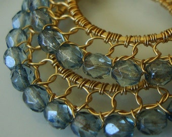 Luster Transparent Blue Gold Wire laced Hoop Earrings