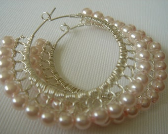 Pale Pink Swarovski Glass Pearl and Sterling Silver Lace Wire Hoop Earrings