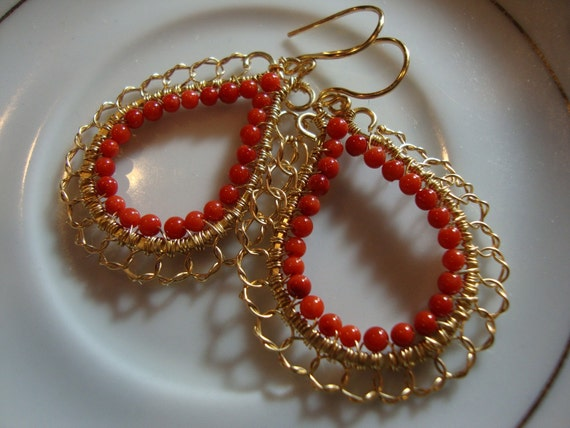 Orange Red Coral and  Golden Wire Wrapped Lace Hoop Earrings